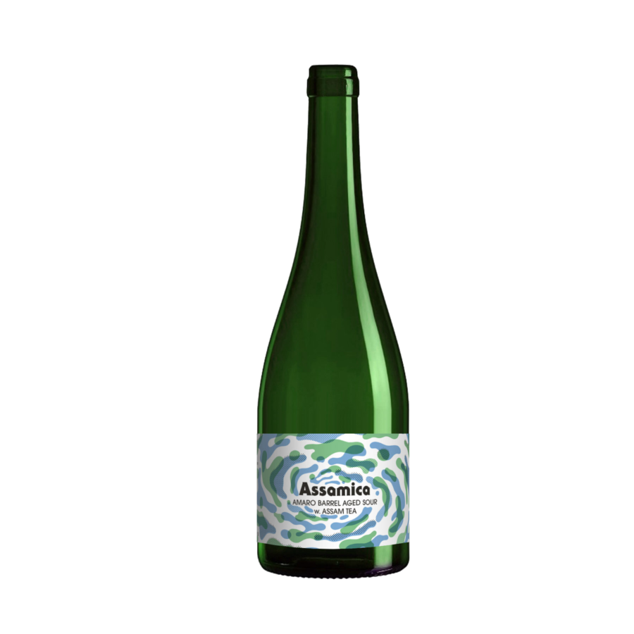 A single tall bottle of our Assamica beer, the bottle has a tall neck and the label is blotchy shapes of low opacity overlapping in a smoke like tornado.