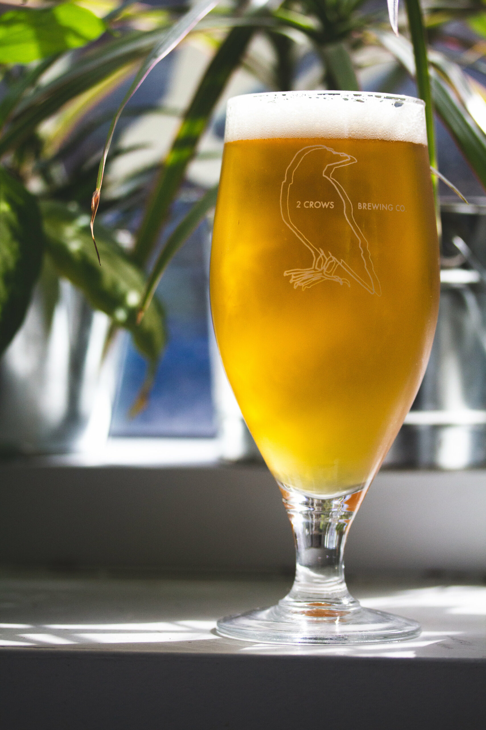 A tall traditional Cervois glass sits on a table full of amber yellow beer.