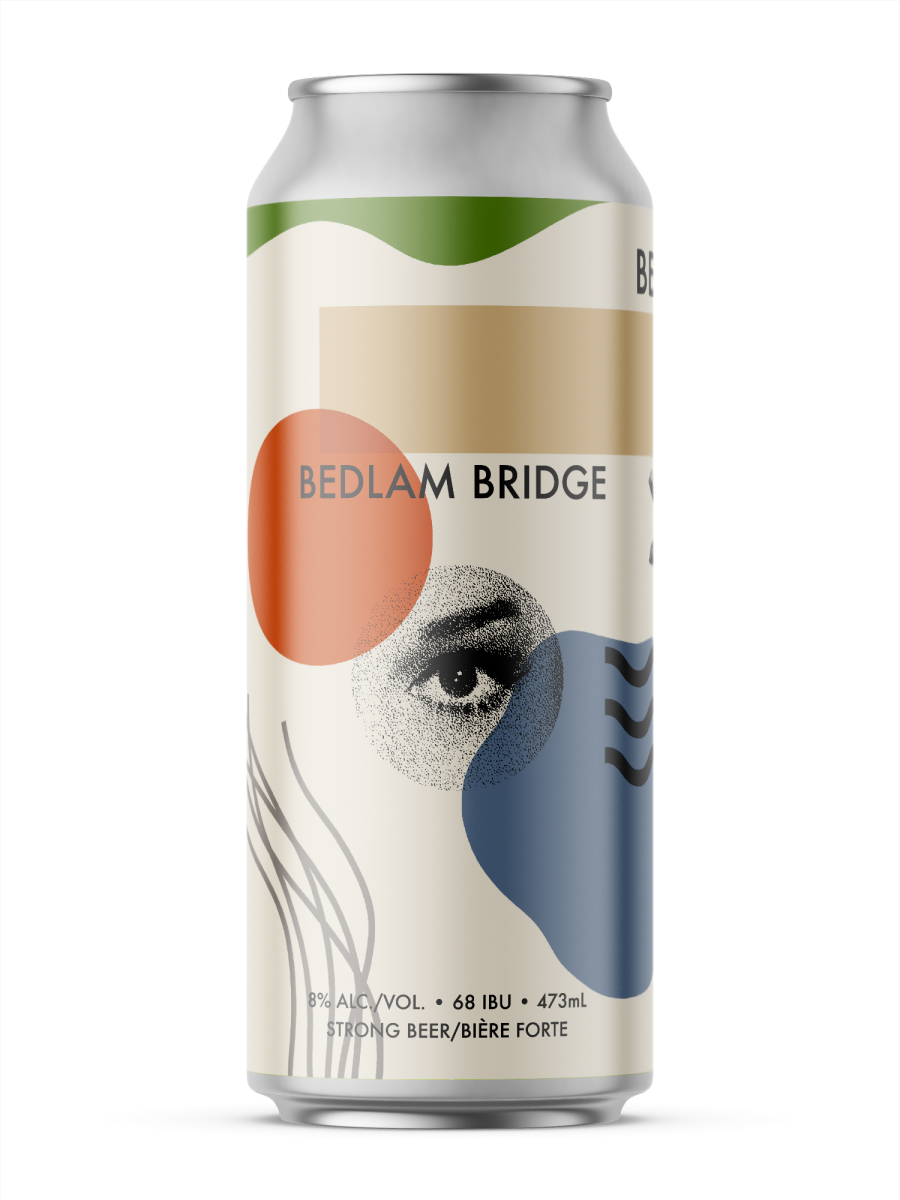 A single tall can of our Bedlam Bridge beer, the label has a textured image of a womans eye in the middle contained within a circle. Around the beige can are unique shapes with different muted colours.