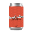 A short can of our hard seltzer apertif beverage. The label is a repeating pattern of waves all on a red green background.
