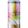 A single tall can of our Camellia beer, the label has a textured illustrated flower it looks screenprinted and faded over top shapes of colour and texture. Everything looks realistically planned and have the same style textures applied to them.