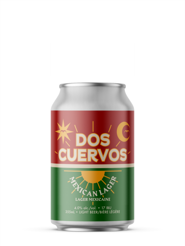 A single short can of our Dos Cuervos beer, the label is visually split in half, the top is red and the bottom is green. There's simplistic icons of a sun, moon and bird flying alongside the beer name in the middle.