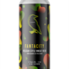 A single tall can of our Fantacity beer, the label is dark with blotchy shapes flying around the can alternating from orange to green colours merging in with the can's dark background.