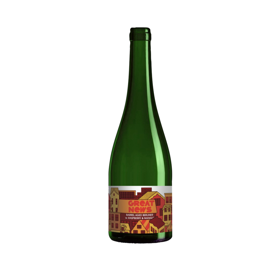 A single tall bottle our Great News beer, the bottle has a tall neck and the label has geometric flat illustrations of a town with a variety of architecture styles.