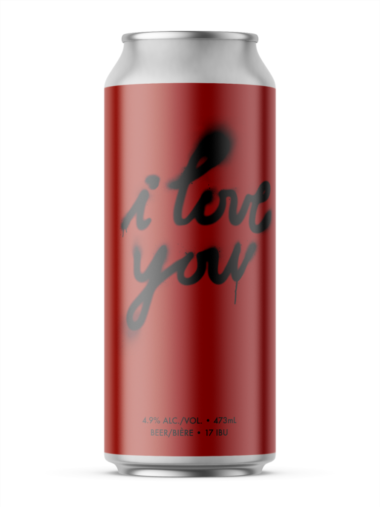 A single tall can of our I Love You beer, the label is red and has the name of the beer spray painted on the can with unsharp sprayed edges and drips.
