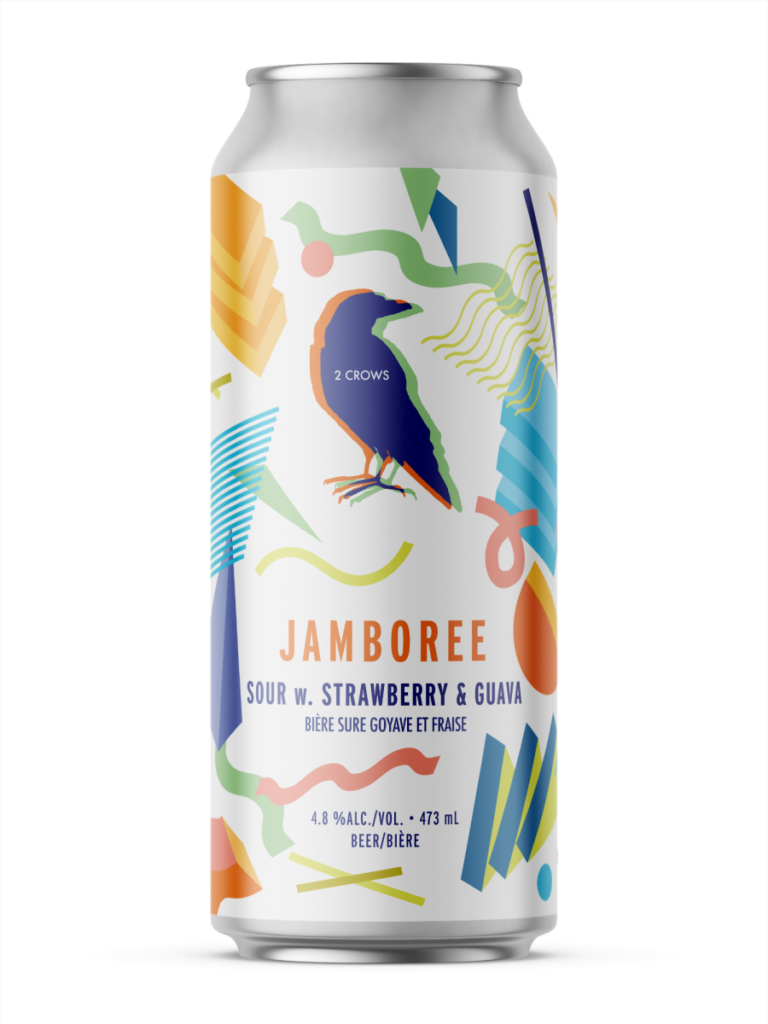 A single tall can of our Jamboree beer, the label demands your attention with muted abstract shapes with bold colours.