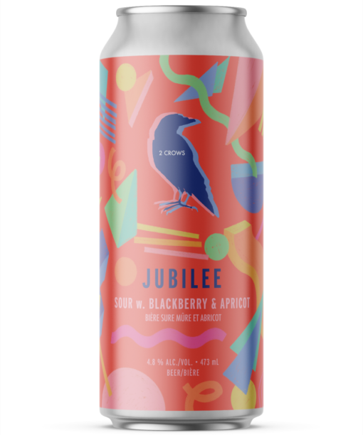 A single tall can of our Jubilee beer, the can label is neon peach with 80's style shapes dynamically dancing around the can.
