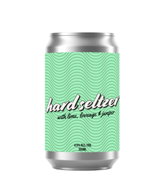 A short can of our hard seltzer lime beverage. The label is a repeating pattern of waves all on a mint green background.