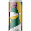A single tall can of our Laurel beer, the label has overlapping shapes and colours intertwined with textured black and white images. It feels royal using deep greens, gold yellows and a pretty pink.