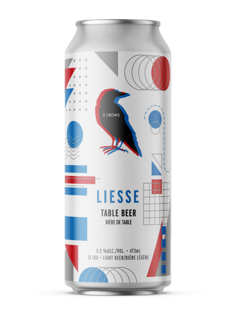 A single tall can of our Liesse beer, the label has straight forward shapes such as triangles, circles grids and waves. All overlapping in a unique but planned way. The can uses the 2crows iconic red and blue colours throughout.