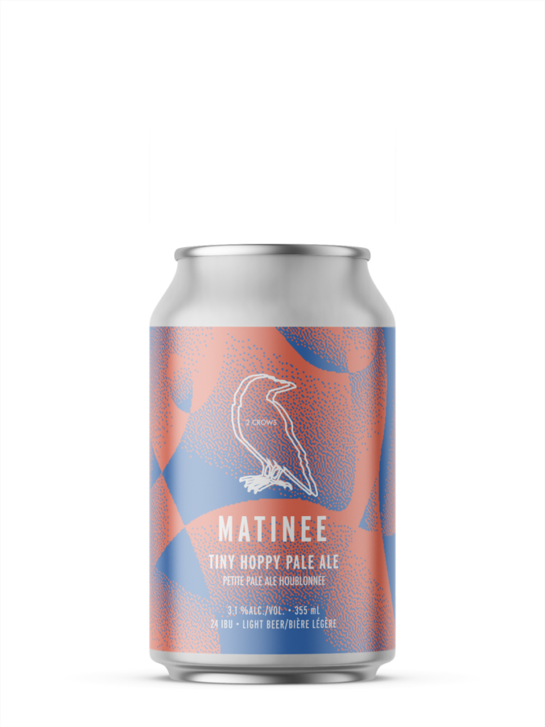A single short can of our Matinee beer, the label is pink orange with dotted fading shapes of muted blue.