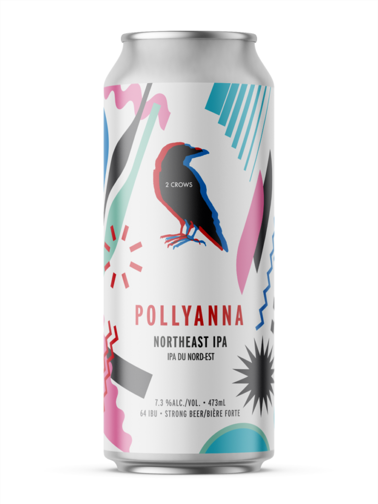 A single tall can of our Pollyanna beer, the label base is white and pink, blue and grey abstract shapes layer themselves on top of each other creating a dynamic wrap on the can.