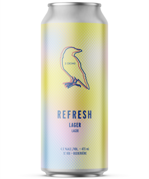 A single tall can of our Refresh beer, the label is soft and has a dot textured, the colours merge seamlessly between each other from pinks, blues and yellows.