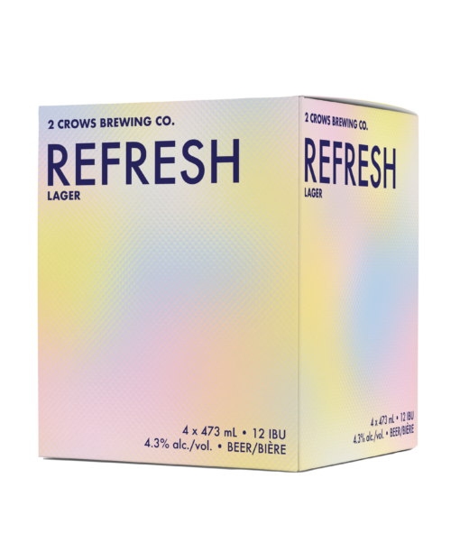 A box of our Refresh beer contains 4 473ml beers. The cardboard is the same graphic as that on the can, soft pinks blues and yellows merge into each other on a dotted texture.