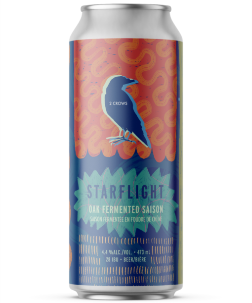 A single tall can of our Starflight beer, the label looks as if it was painted with textures brush strokes making up large shapes and patterns all over in a pink orange, layered blue and sunny yellow.