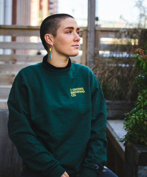 Green and Yellow Crew Neck Sweater