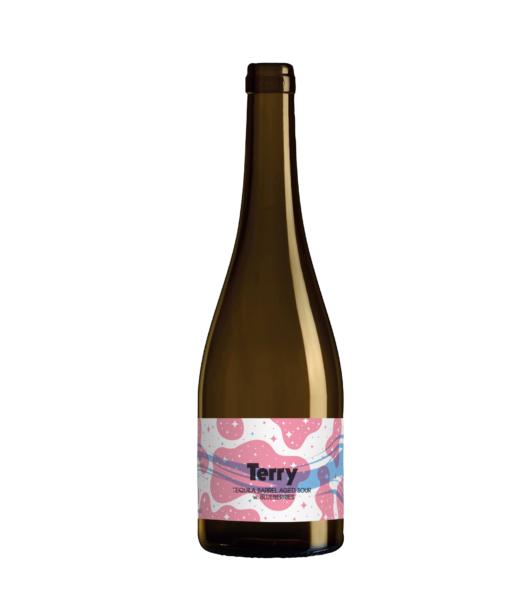 A single tall bottle our Terry beer, the bottle has a tall neck and the label has a blue stripe flying through pink abstract cloud shapes with an entire texture overtop of stars alternating white and pink.