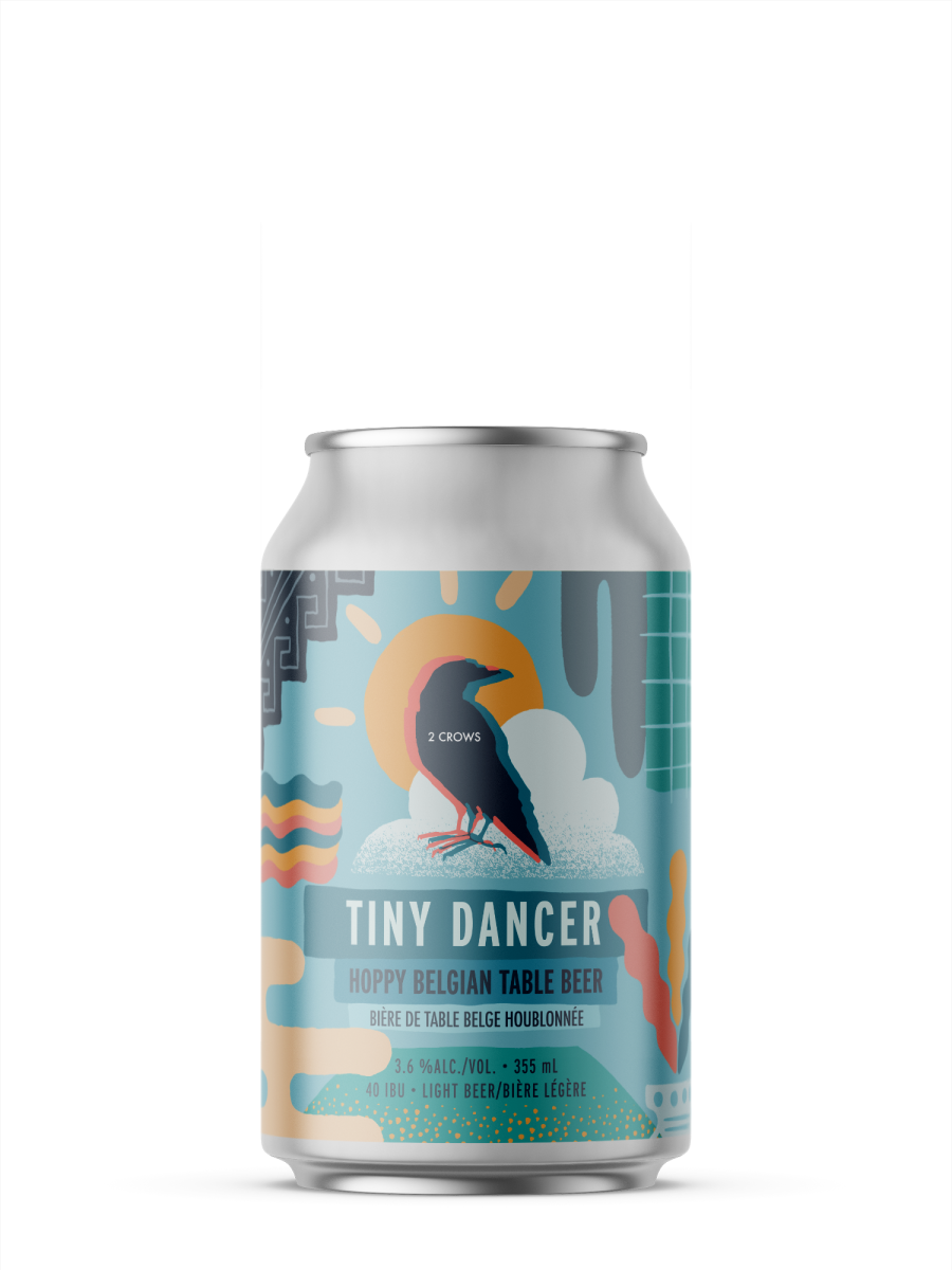 A single short can of our tiny Dancer beer, the label is loaded with abstract shapes, a sun, a cloud a grid, some leaves all are represented on top of a light blue turquoise can.