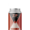 A single short can of our Zip beer, the label is art deco inspired with sharp pointed lines coming to meet in the middle landing on a diamond shape. The can has a texture adding levels to the reds, light pink and smokey black.
