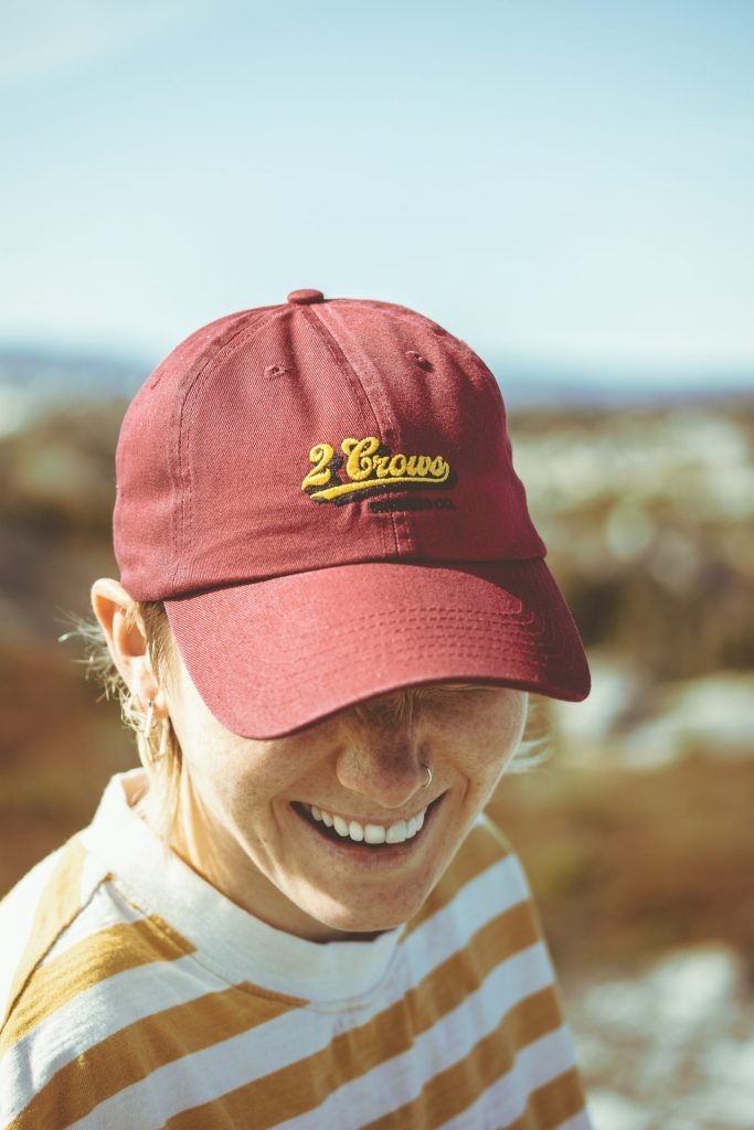 2 crows Maroon Burgundy dad hat out at pollys cove